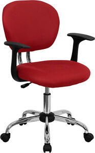 Mid Back Office Desk Chair With Arms Red Mesh Upholstery With Chrome Accents