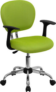 Mid Back Office Desk Chair With Arms Apple Green Mesh Upholstery Chrome Accents