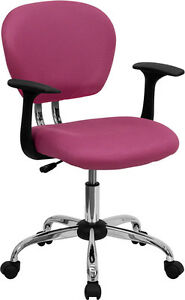 Mid Back Office Desk Chair With Arms Pink Mesh Upholstery With Chrome Accents