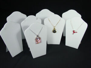 8pc Set 6 h Padded Necklace Pendant Chain White Jewelry Display Easel Pj19pw8