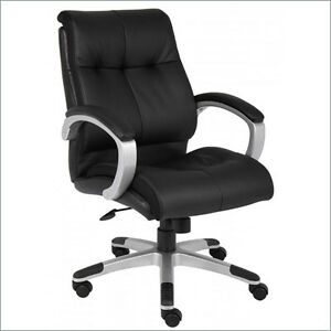 Black Leather Executive Mid Back Computer Desk Office Chair