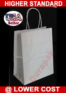 200 Pcs High Glossy White Queen Kraft Paper Retail Shopping Shopper Gift Bags