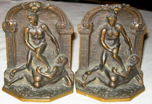 Antique Art Nouveau Nude Gay Man Solid Bronze Art Statue Sculpture Bookends