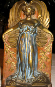 Antique Nouveau Bronze Peace Nude Lady Bust Art Statue Sculpture Angel Bookends