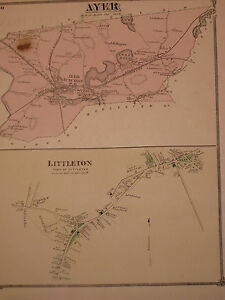 1875 Original Map Town Of Ayer And Village Of Littleton Middlesex Co Ma Mass Old