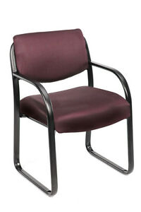 Boss Burgundy Fabric Guest Office Chair Steel Frame New