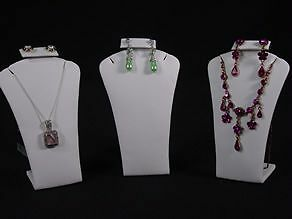 5 5 h 3pcs Set White Leather Earring Pendant Jewelry Display Stand Case Rd14w3