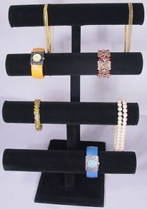 17 h Super Duty Black Jewelry Display 4 Tier T Bar Bracelet Bangle Watch Pj62b1