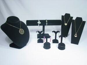 8pc Set Black Velvet Necklace Earring Bracelet Pendant Jewelry Display Cm6b1