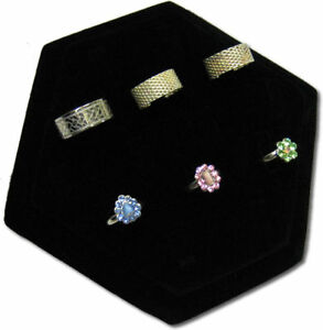 7 lx6 w 14 Clip Black Velvet Hexagon Shape Ring Jewelry Display Stand Case Rd47