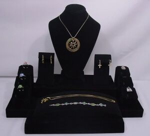 Black Velvet Jewelry Display Set Necklace Ring Pendant Earring Bracelet St2003b1