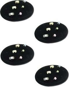 New 4pc Set 10 Clip Black Velvet Oval Shape Ring Jewelry Display Stand Rd46b4