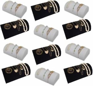 12pc Set 8 x5 Bracelet Watch Black White Jewelry Display Ramp Riser Fe4bw12