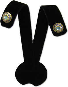 3 h Black Velvet Earring Jewelry Display Top Stand Post Hooks Clip Ear A1b1