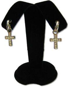 3 5h Black Earring Velvet Jewelry Display Top Stand Post Hooks Clip A2b1
