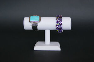 7 wx5 h White Leatherett Jewelry Display T Bar Bracelet Bangle Watch Stand Pj49w