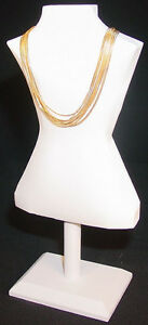 14 5 H Body Shape White Leather Jewelry Display Bust Stand Necklace Chain Ja54