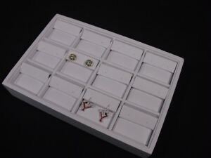 New 12 Section 9 l X 6 w White Leatherette Earring Tray Display Case Tpe12w