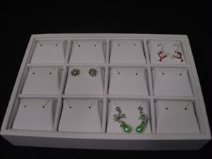 New 9 l X 6 w 12 Section White Leatherette 12p Earring Tray Display Case Tpe5w