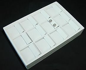12 Section 9 l X 6 w White Leatherette Earring Tray Display Case Te3w