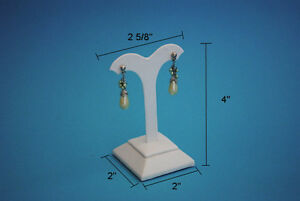 4 h High White Leatherette Earring Jewelry Display Top Case Stand Rd16w1