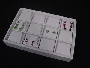 12 Section 36 Pairs White Leatherette Post Earring Tray Display Case New Tep7w1