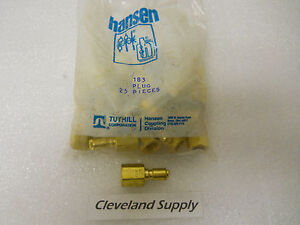 Hansen 183 Plug Brass Pneumatic Disconnect Fitting 1 8 New Package Of 25pcs