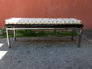 Long Mod 70 S Pace Style Chromed Steel Bench With Lacquered Wood Top