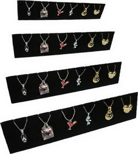 4pc Set 12 l X 2 5 w Black Velvet Earring Pendant Jewelry Display Stand Pj32b4