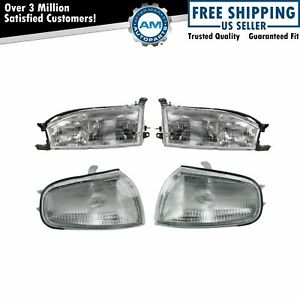 Headlights Parking Corner Lights Left Right Kit Set For 92 94 Toyota Camry