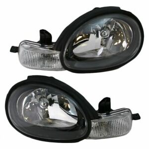 Headlights Headlamps W Black Bezels Left Right Pair Set For 00 02 Dodge Neon