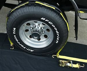 4 Usa Over The Tire Car Hauler Stacker Trailer Flat Bed Ratchet Straps 3 Fhs