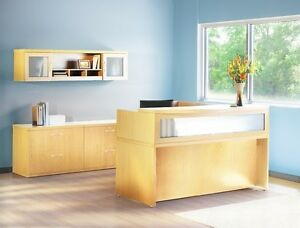 Mayline Aberdeen Reversible L shape Maple Reception Desk W Textured Glass