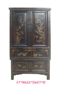 Chinese Antique Gold Flower Bird Painting Armoire Cabinet Wk2325