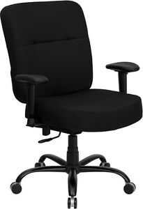 Big Tall Fabric Computer Square Back Office Chair Arms 400 Lbs Weight Capacity