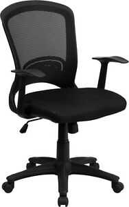 Lot Of 10 Mid back Black Mesh Office Chairs With Padded Mesh Seat