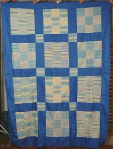 Vintage 30 S Nine Patch Roman Stripe Hand Stitched Antique Quilt Top Nice Blue