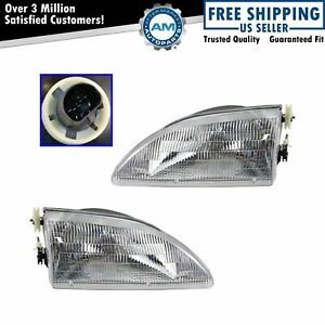 Headlights Headlamps Left Right Pair Set New For 94 98 Ford Mustang
