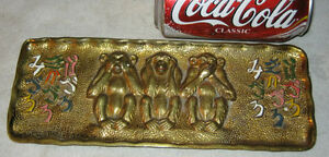 Antique Bronze Monkey Statue Desk Pen Art Tray Plaque Oriental Asian Chinese