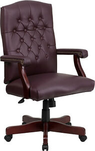 Lot Of 10 Burgundy Leather Executive Conference Office Chairs W Mahogany Finish