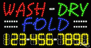 New wash dry Fold 32x17x1 W your Phone Number Solid flashing Led Sign 25118