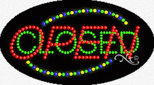 Brand New open closed 27x15x1 Oval Solid animated Led Sign 24059