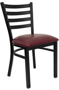 Metal Ladder Back Restaurant Chair With Burgundy Vinyl Seat