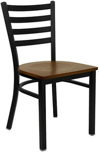 Metal Frame Ladder Back Restaurant Chair With Cherry Wood Seat