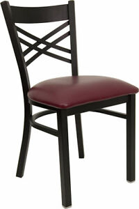Lot Of 20 Metal X Back Restaurant Chairs With Burgundy Vinyl Seat