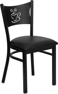 Lot Of 20 Metal Restaurant Coffee Design Caf Chairs With Black Vinyl Seat