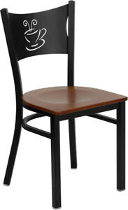 Metal Restaurant Coffee Shop Chair With Cherry Seat
