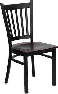 Metal Vertical Slat Back Restaurant Chair With Mahogany Seat