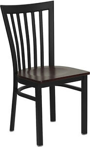 Metal School House Back Restaurant Chair With Mahogany Wood Seat