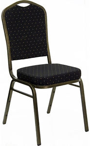 Lot 40 Black Patterned Fabric Crown Back Steel Frame Banquet Stack Chairs